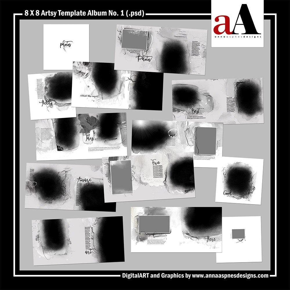 New 8 X 8 Artsy Digital Scrapbooking Album