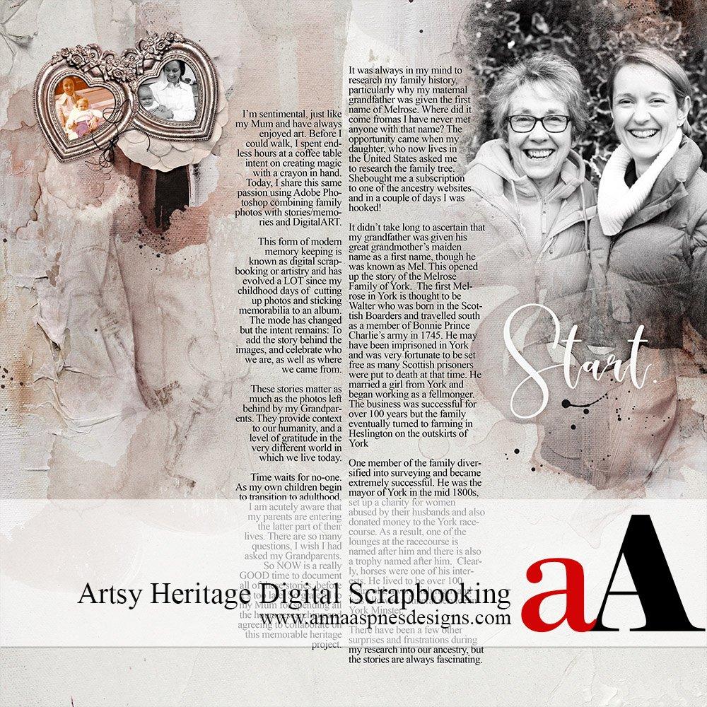 Artsy Heritage Digital Scrapbooking