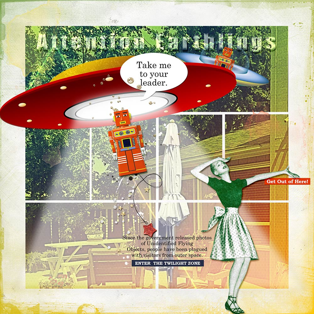 More Ways to Use Stitched Templates - Attention Earthlings by Barb Houston